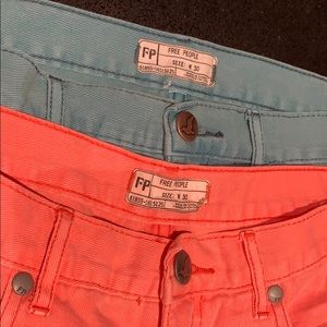 Pair of Free People Shorts in Coral and Teal